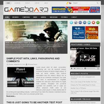 GameBoard blogger template with image slideshow template and pagination for blogger ready. games template blog