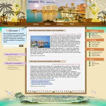 Swimming in Miami blogger template. template blog from wordpress