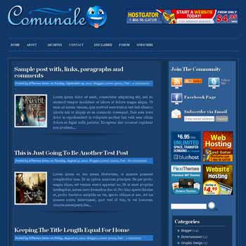 Comunale blogger template with pagination for blogger ready. 4 column footer blogger template