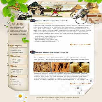 Walking throught an Ancient Egypt blogger template. template blog from wordpress. travel blog template