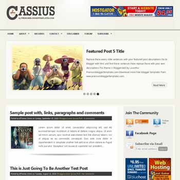 Cassius blogger template. pagination for blogger ready. 4 column footer blogger template. magazine style template blog