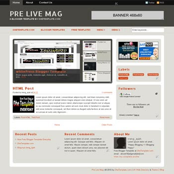Pre Live Mag blogger template. magazine style blogger template. content slider jquery blogger template. 3 column footer blogger template