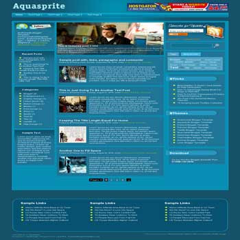Aquasprite blogger template. pagination for blogger ready. magazine style template blog. image slider template blog