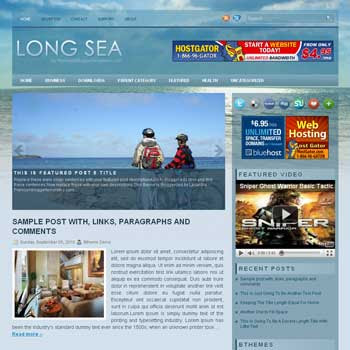 LongSea blogger template. pagination for blogger ready. magazine style template blog. image slider template blog
