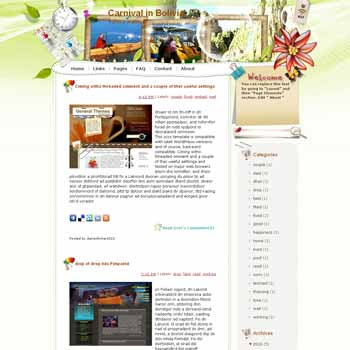 Carnival in Bolivia template blog from wordpress. travel blog template. template blog from wordpress. travel blog template