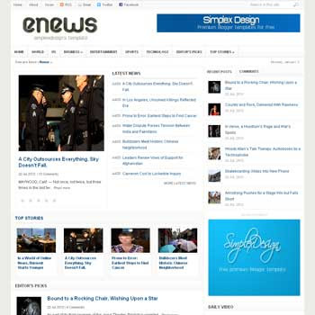 Simplex Enews (Renew Version) blogger template. magazine blogger template. template magazine blogspot