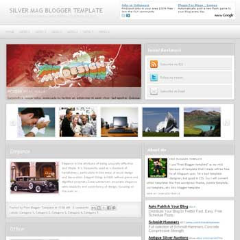 Silver Mag blogger template convert WordPress to Blogger template. Silver Mag template blogspot. magazine style template. featured content blogger template