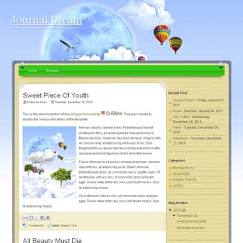 Jurnal Dream blogger template. image slider blogger template