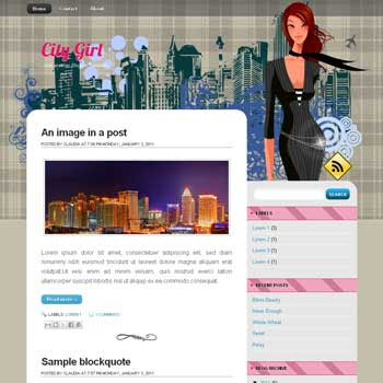 City Girl blogger template. image slider blogger template. 3 column footer template blog