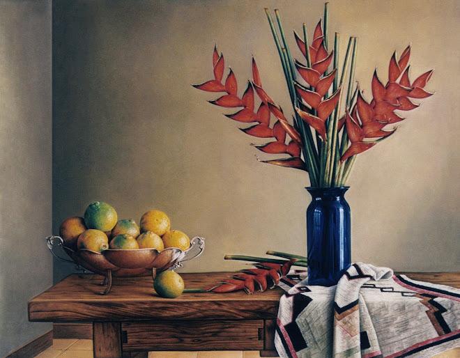 Bodegón con Naranjas y Flores