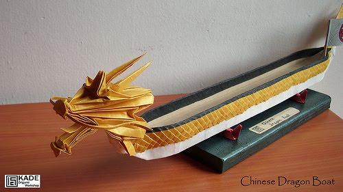 Chinese Dragon Boat Folded By Kade Chan 2010 Completed Model 32cm Time Spent 6hours