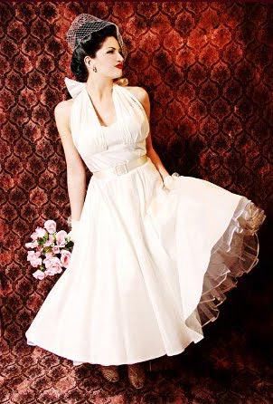 50's Style True Romance Ivory Silk Tea Length Halter Wedding Dress