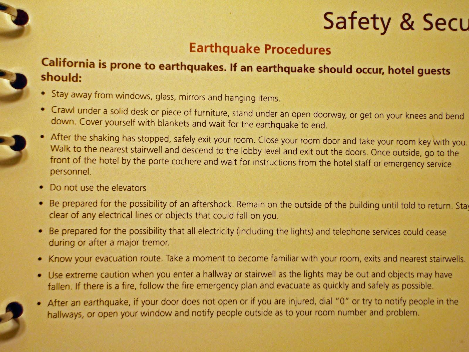 hotel earthquake evacuation guide san francisco december 2010