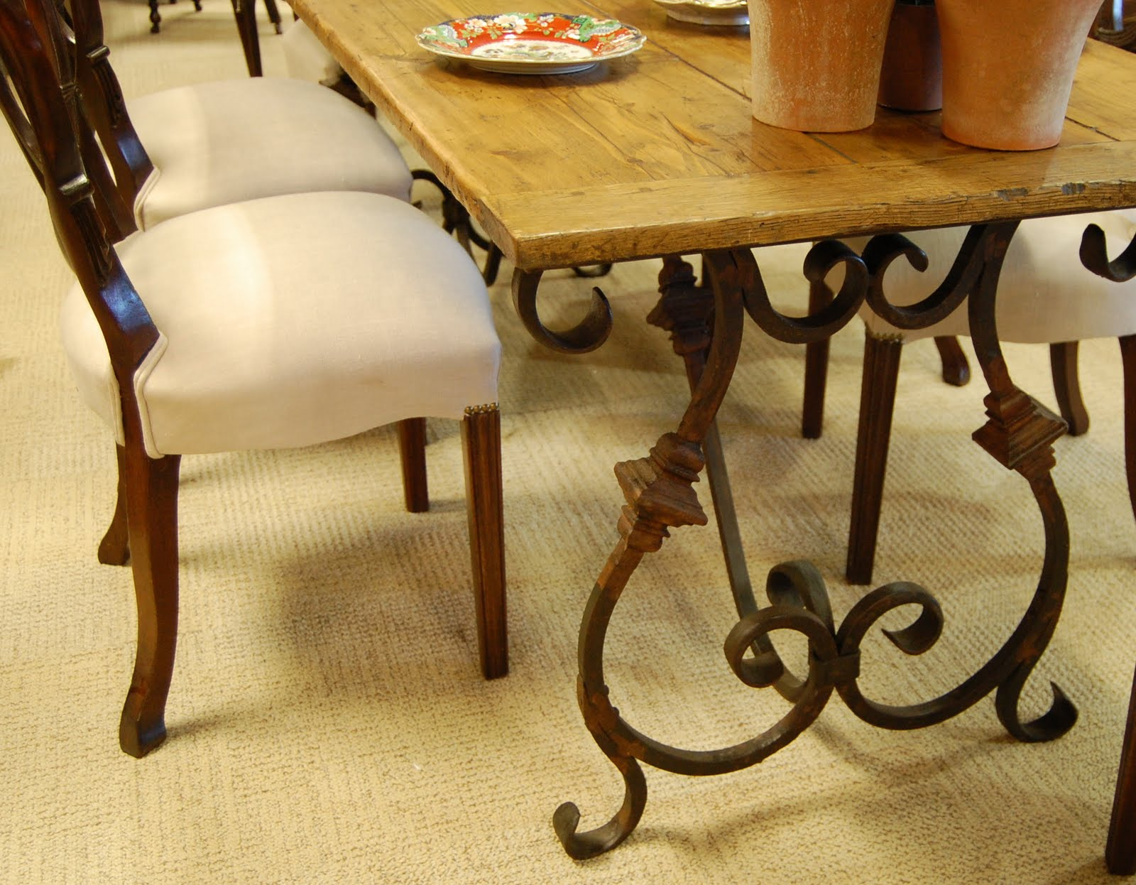wood and wrought iron furniture