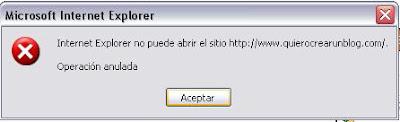 blogger Internet Explorer no puede abrir el sitio operacion anulada
