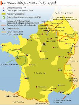 Mapa de Francia en el tiempo de la revolución