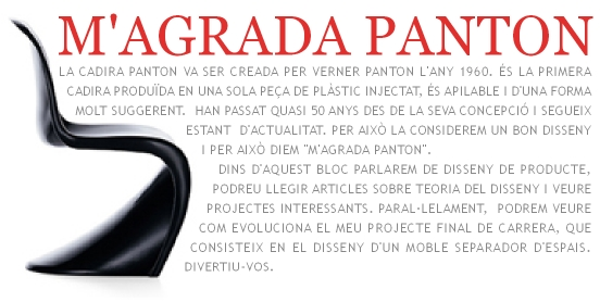 M'agrada Panton. Bloc de disseny de producte