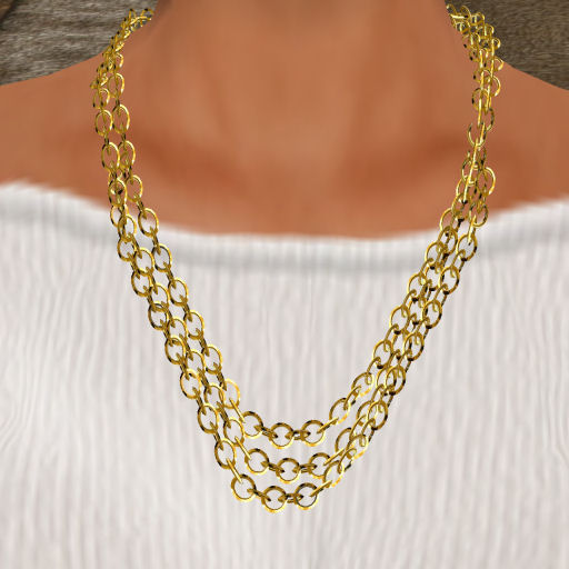 gold link necklace. Gold Triple Link Necklace