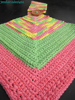 Crochet Mitered Square Hanging Towel