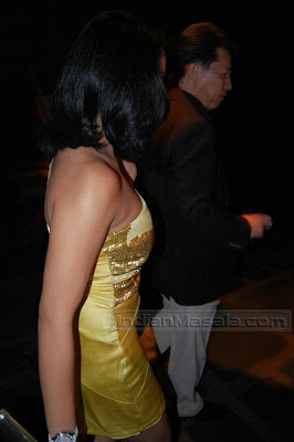 Bollywood Siren Hot Celina Jaitley looking short golden dress at The Chivas Fashion Show