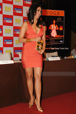 Bollywood Hot Beauty Lara Dutta ultimate hot figure display at her Yoga DVD launch