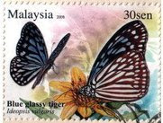 Butterflies Of Malaysia 30sen Blue Glassy Tiger