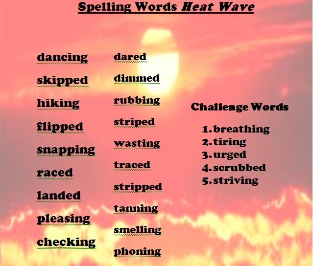"4th Grade!: Spelling Words ""Heat Wave"""