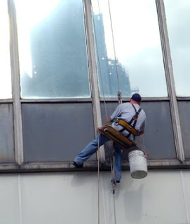 Window Washer on Cleveland Building