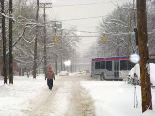 Tremont Man Walking In Snow