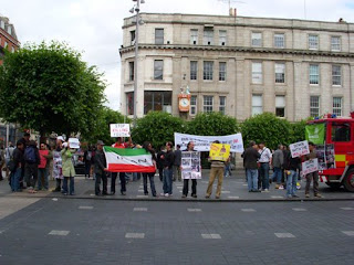 Protesters on O'Connell Street in Dublin