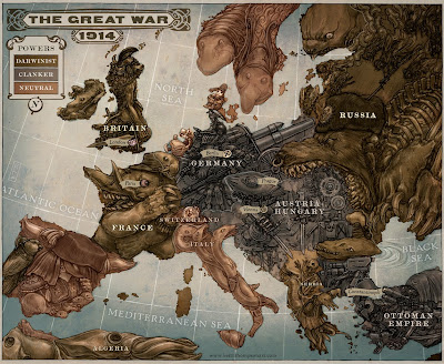 Map Of Europe 1914. Caricature map of Europe 1914
