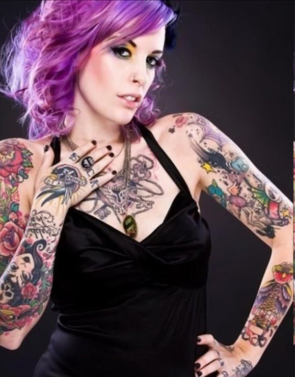 Flower Pin Up Tattoo Pics Designs On sleeve Girls
