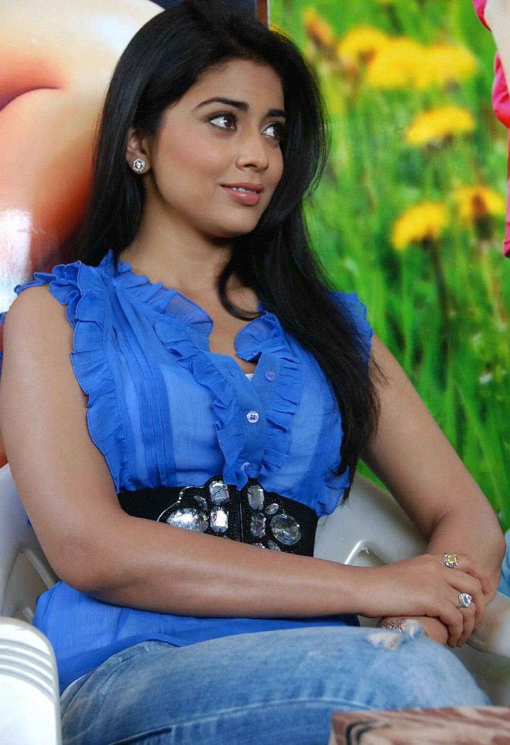 Shreya saran hot armpits in transparent blue shirt hot photos