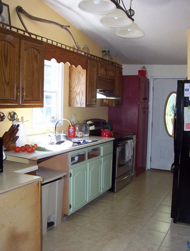 The inky spinnery spray painting oak kitchen cabinets for Can spray paint kitchen cabinets