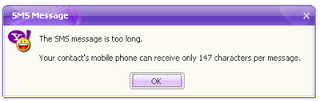 yahoo messenger sms message error problem