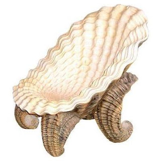 A chair in the shape of an oyster shell