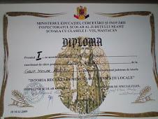 Diploma obţinută de elevul Munteanu Bogdan, clasa a IX-a C