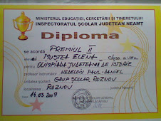 Diploma obţinută de eleva Elena Mustea, clasa a VIII-a A