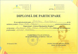 Diploma obţinută de elevul Bogdan Munteanu, clasa a XI-a C,  24.I.2011