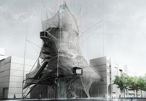 Elegant Interesting Parasite Design Nested Skyscaper