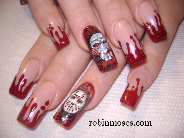 Nail Art Design Blood Splatter Nail Bloody Nails Blood Bath Nail