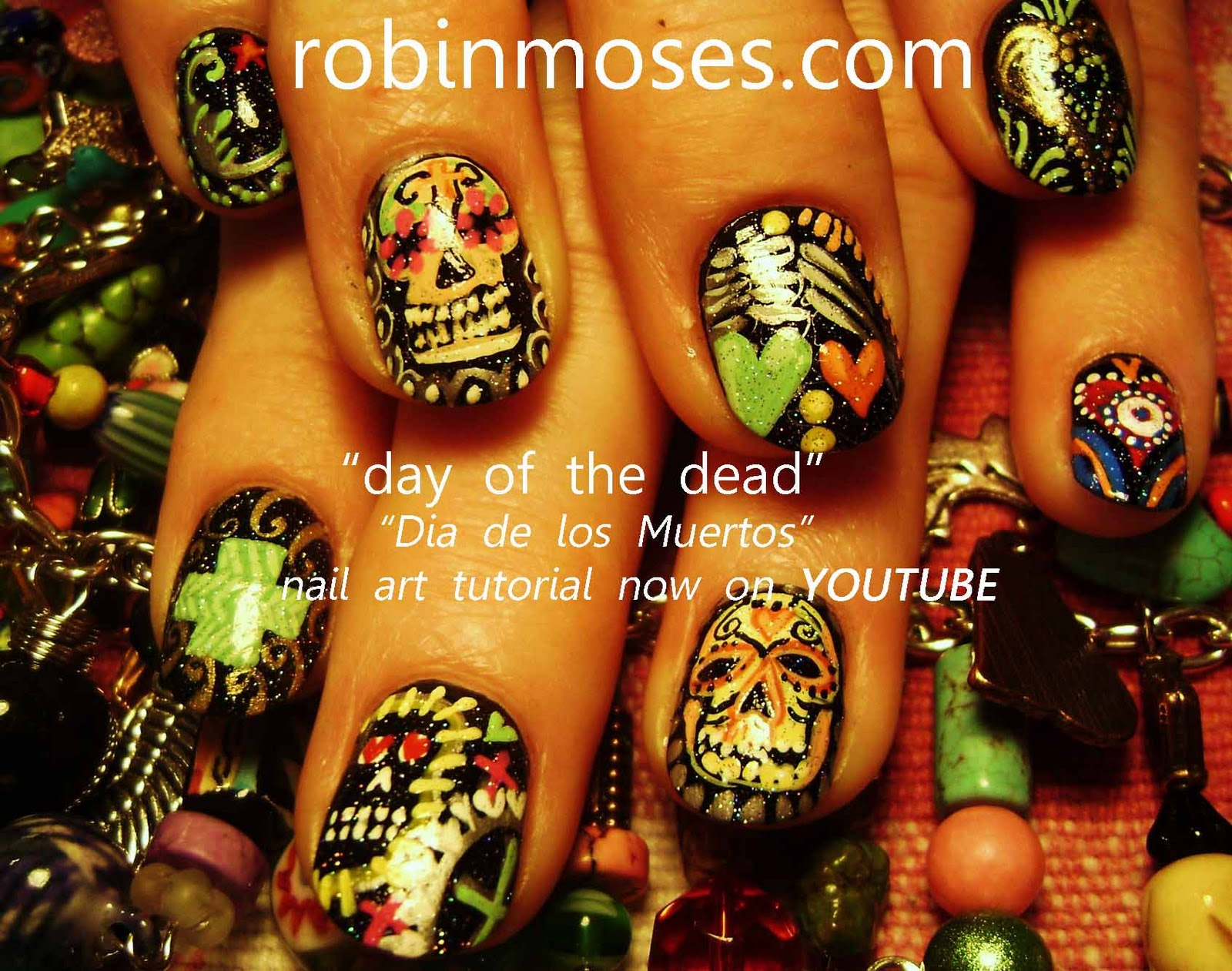 day of the dead nail art\