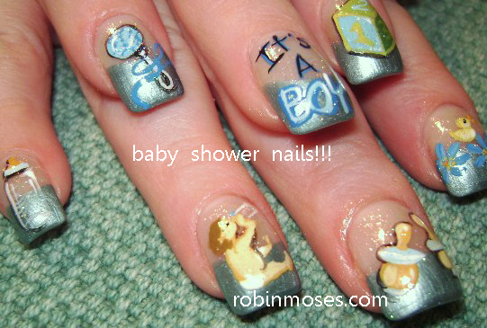 Robin moses nail art nail art robin moses baby shower nail baby shower nail art posted by robin moses at 256 am prinsesfo Images