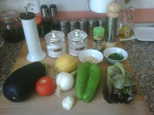 Ingredientes para las berenjenas rellenas frías.