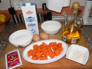 Ingredientes para el bizcocho de calabaza.