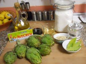 Ingredientes para las alcachofas de la abuela.