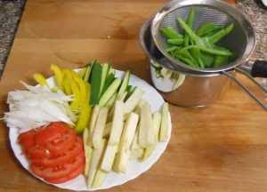 Trocear el resto de verduras.