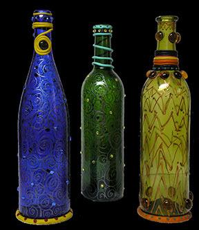 carol crafts 3 decorative glass bottles. Black Bedroom Furniture Sets. Home Design Ideas