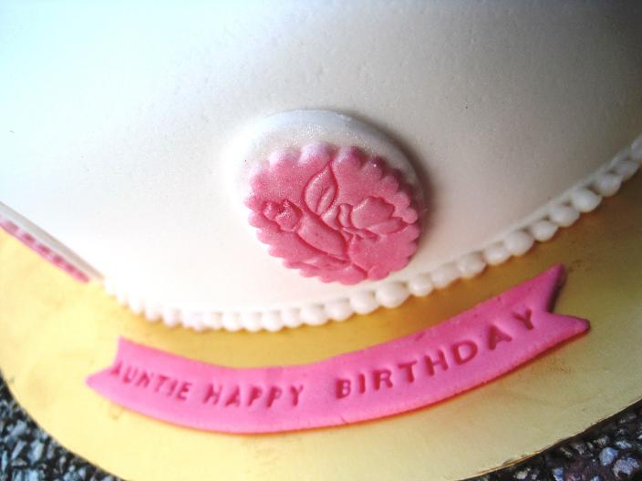 At the side I added 8 pieces of fondant plates embossed with flowers and dusted with shiny edible pink and white pearl powder. Not forgeting a birthday ... & Mom And Daughter Cakes: Birthday Cake For Aunty