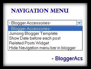 Add navigation or drop down menu in blogger